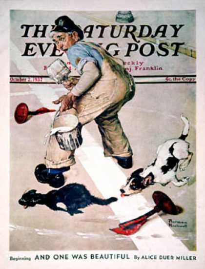 "Saturday Evening Post - 1937-10-02: ""Spilled Paint"" (Norman Rockwell)"