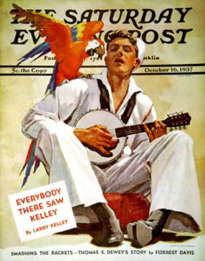 Saturday Evening Post - 1937-10-16: Singing Sailor and Parrot (John E. Sheridan)