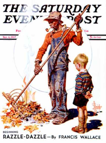 Saturday Evening Post - 1937-11-06: Raking Leaves (J.C. Leyendecker)