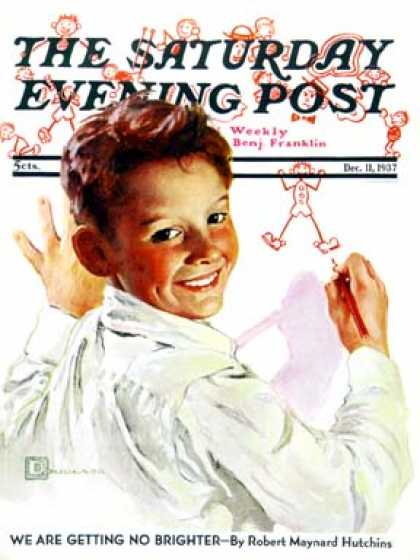 Saturday Evening Post - 1937-12-11: Boy Drawing Stick Figures (Douglas Crockwell)