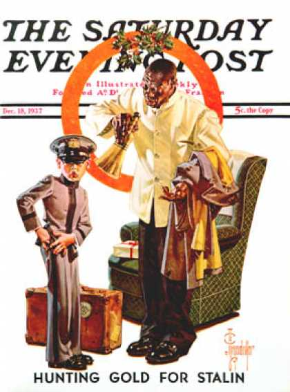 Saturday Evening Post - 1937-12-18: Tipping the Porter (J.C. Leyendecker)