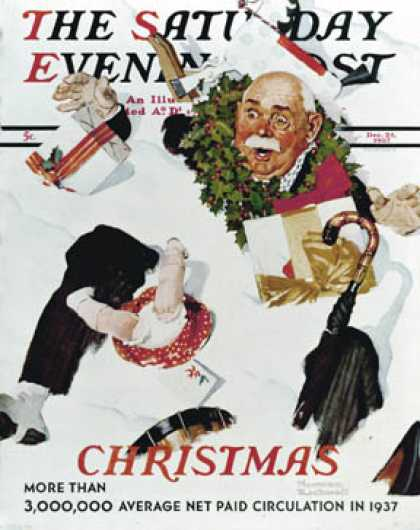 "Saturday Evening Post - 1937-12-25: ""White Christmas"" (Norman Rockwell)"
