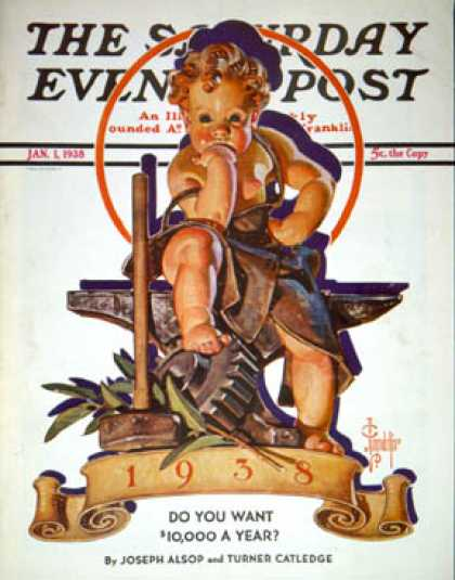 Saturday Evening Post - 1938-01-01: Baby New Year at Forge (J.C. Leyendecker)