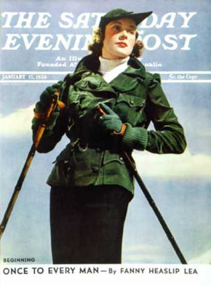 Saturday Evening Post - 1938-01-15: Woman Modelling Ski-wear (V. Keppler)