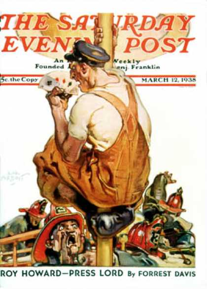 Saturday Evening Post - 1938-03-12: Fireman with Winning Hand (Samul Nelson Abbott)