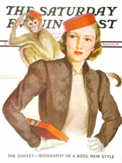 Saturday Evening Post - 1938-03-26: Matching Monkey Hats (Neysa McMein)