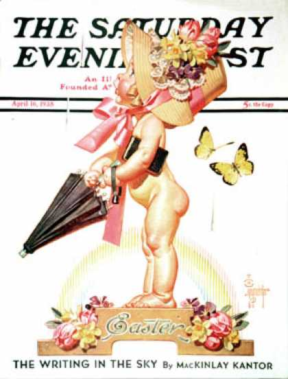 Saturday Evening Post - 1938-04-16: Easter Rainbow (J.C. Leyendecker)