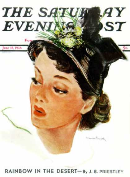 Saturday Evening Post - 1938-06-18: Woman in Black Hat (Frances Arnold)