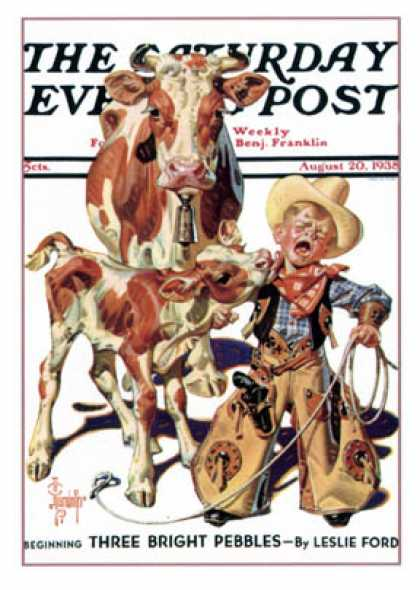 Saturday Evening Post - 1938-08-20: Little Cowboy Takes a Licking (J.C. Leyendecker)