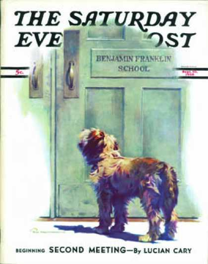 Saturday Evening Post - 1938-09-10: Dog Waiting for Schoolboy (Robert C. Kauffmann)