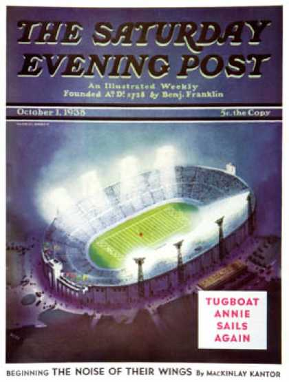Saturday Evening Post - 1938-10-01: Football Stadium at Night (Wesley Neff)