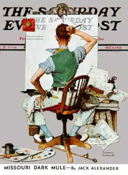 "Saturday Evening Post - 1938-10-08: ""Self-Portrait"" (at blank POST   cover) (Norman Rockwell)"