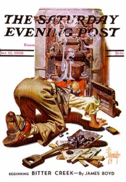 Saturday Evening Post - 1938-10-15: Stoking the Furnace (J.C. Leyendecker)