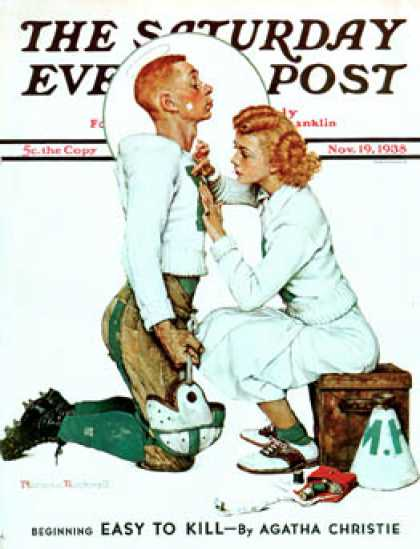 "Saturday Evening Post - 1938-11-19: ""Letter Sweater"" (boy & girl) (Norman Rockwell)"