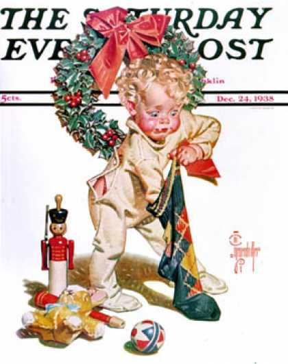 Saturday Evening Post - 1938-12-24: Christmas Stocking (J.C. Leyendecker)