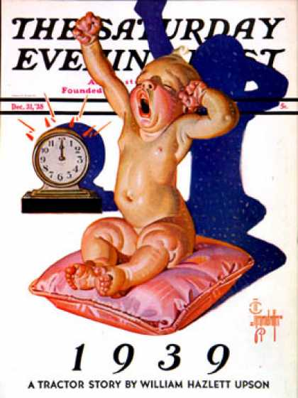 Saturday Evening Post - 1938-12-31: Waking to the New Year (J.C. Leyendecker)