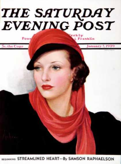 Saturday Evening Post - 1939-01-07: Portrait in Black and Red (Neysa McMein)