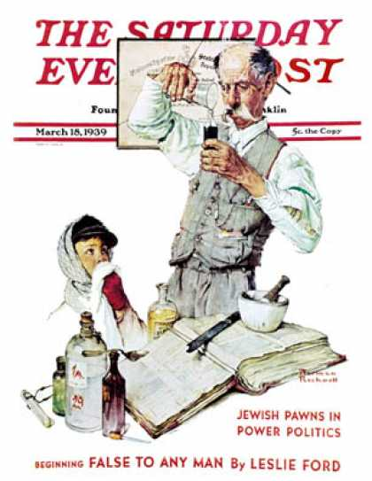 "Saturday Evening Post - 1939-03-18: ""Pharmacist"" (Norman Rockwell)"