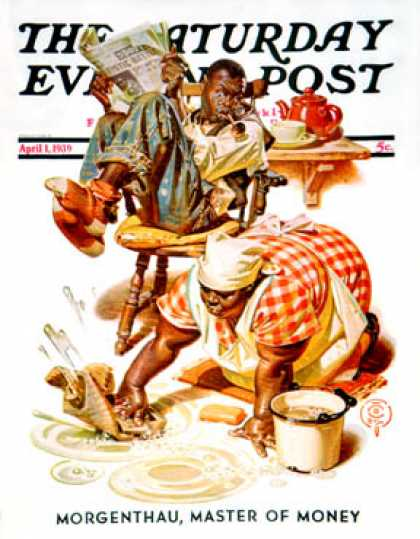 Saturday Evening Post - 1939-04-01: Scrubbing the Floor (J.C. Leyendecker)