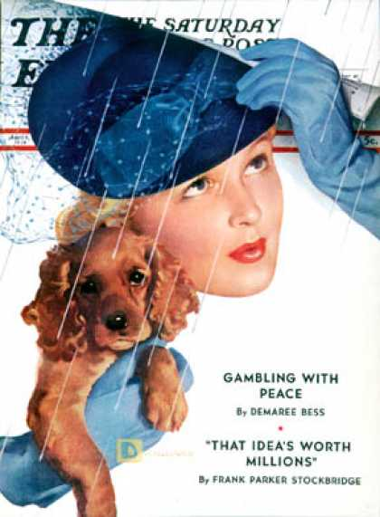 Saturday Evening Post - 1939-04-08: Woman in Rain with Cocker (Douglas Crockwell)