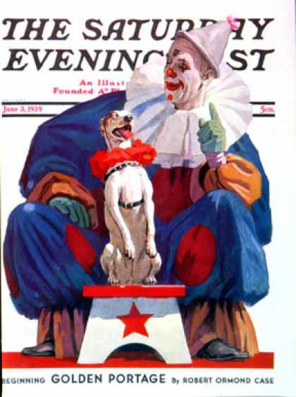 Saturday Evening Post - 1939-06-03: Circus Clown & Pooch (John E. Sheridan)