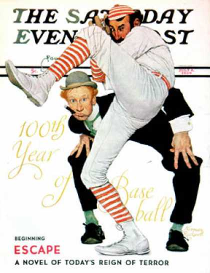 "Saturday Evening Post - 1939-07-08: ""100th Anniversary of Baseball"" (Norman Rockwell)"