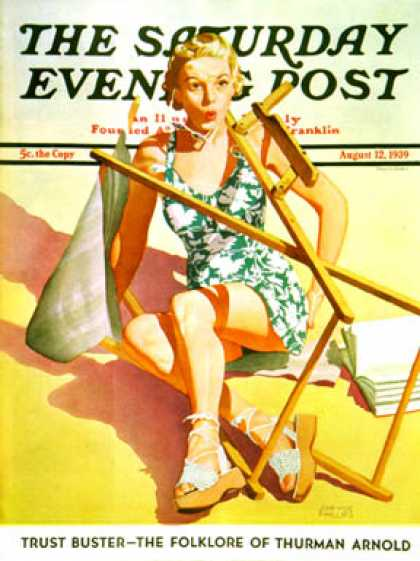 Saturday Evening Post - 1939-08-12: Broken Beach Chair (John Hyde Phillips)