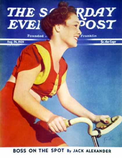 Saturday Evening Post - 1939-08-26: Bicycling Beauty (Charles E. Kerlee)