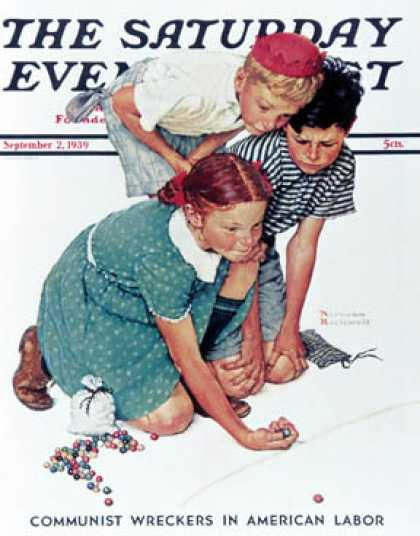 "Saturday Evening Post - 1939-09-02: ""Knuckles Down"" or ""Marble   Players"" (Norman Rockwell)"