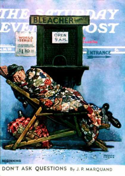 Saturday Evening Post - 1939-09-30: First in Line for Tickets (Monte Crews)