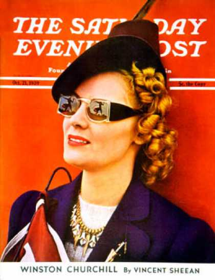 Saturday Evening Post - 1939-10-21: Woman at Football Game (A.F. Sozio)