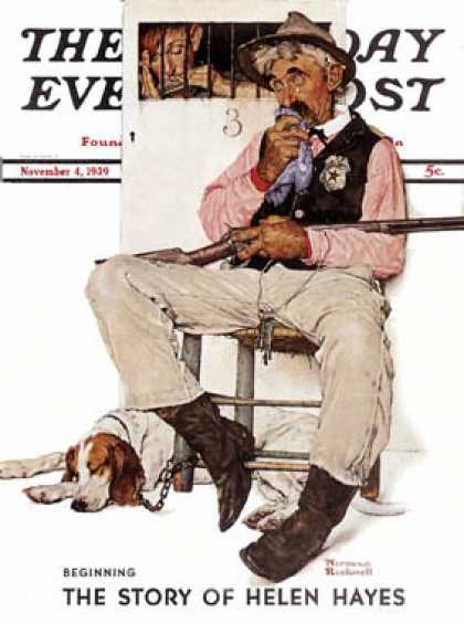 "Saturday Evening Post - 1939-11-04: ""Sheriff and Prisoner"" (Norman Rockwell)"
