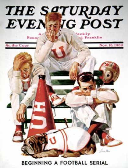 Saturday Evening Post - 1939-11-18: Cheerleaders After Lost Game (Lonie Bee)