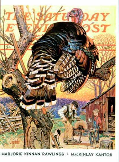 Saturday Evening Post - 1939-11-25: Turkey in the Tree (J.C. Leyendecker)