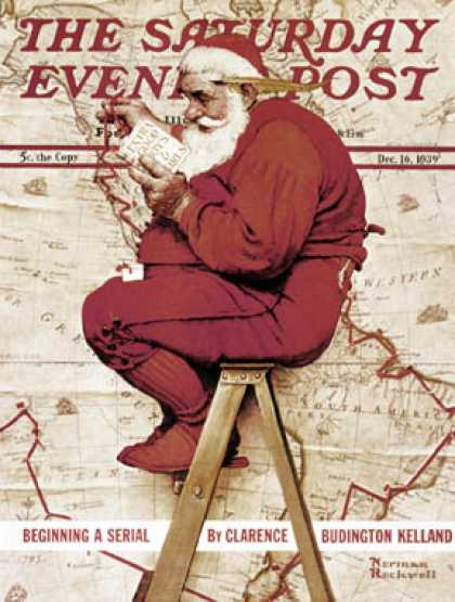 "Saturday Evening Post - 1939-12-16: ""Santa at the Map"" (Norman Rockwell)"