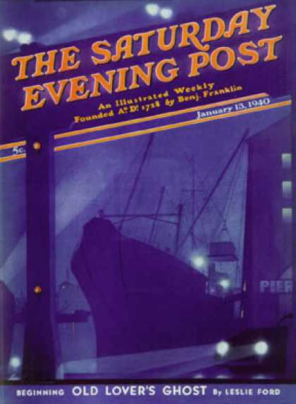 Saturday Evening Post - 1940-01-13: Nighttime in Port (Ski Weld)