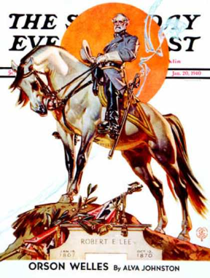 Saturday Evening Post - 1940-01-20: Robert E. Lee on Traveler (J.C. Leyendecker)