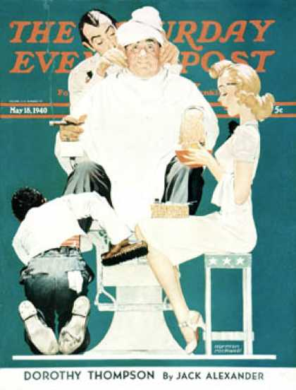 "Saturday Evening Post - 1940-05-18: ""Full Treatment"" (Norman Rockwell)"