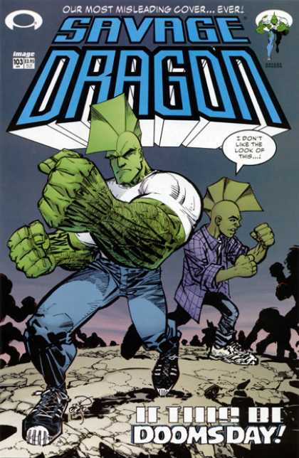 Savage Dragon 103 - Image - Our Most Misleading Cover - Shoe - Dommsday - I Dont Like The Look Of This - Erik Larsen
