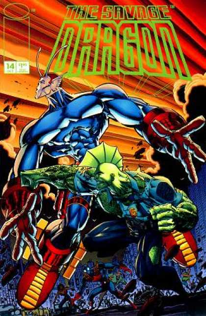 Savage Dragon 14 - Blue - Green - Superman - War Field - Yellow - Erik Larsen