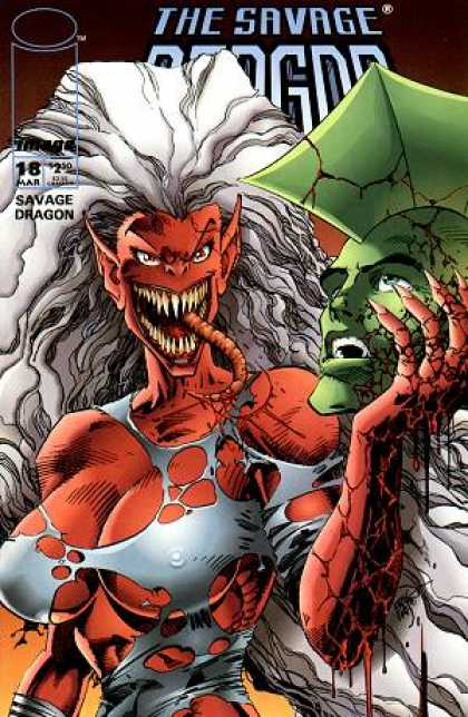 Savage Dragon 18 - Green Head - Pointed Teeth - Pointed Ears - Flowing White Hair - Alien Tongue - Erik Larsen