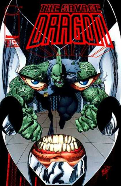 Savage Dragon 20 - Green Creature - Blue Eyes - Open Mouth - Blue Torn Shirt - Black Tights - Erik Larsen