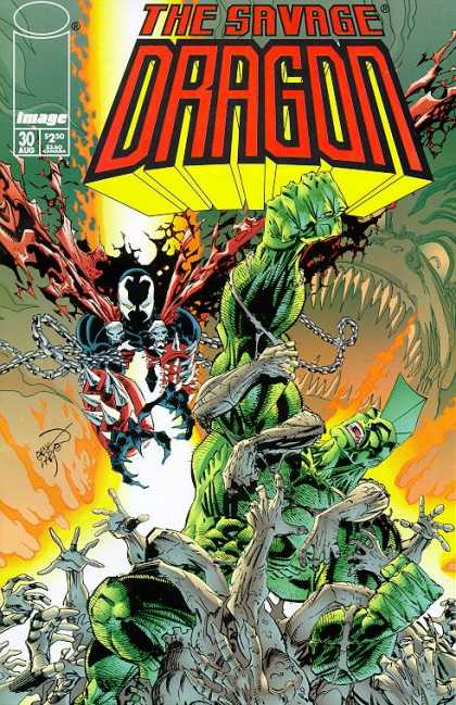 Savage Dragon 30 - Green Skin - Spiked Head - Chains - Bursting From Ground - Many Hands - Erik Larsen