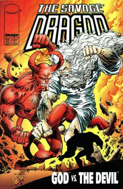 Savage Dragon 31 - God - Devil - Battle - Fire - Punch - Erik Larsen