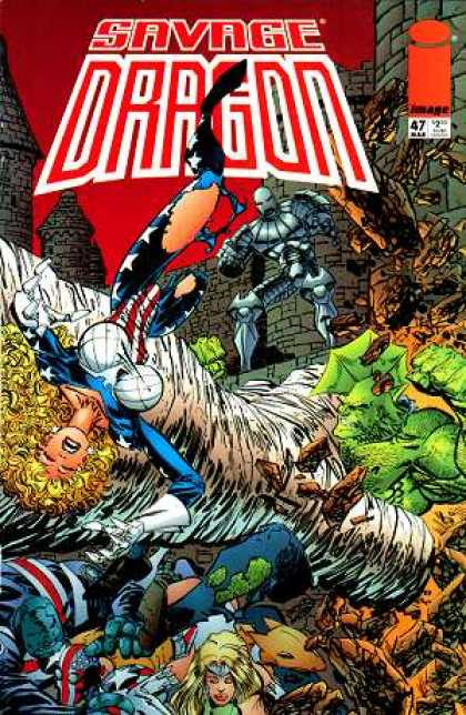 Savage Dragon 47 - Wilde - Battle - Dragon - Green Monster - Dead Bodies - Erik Larsen