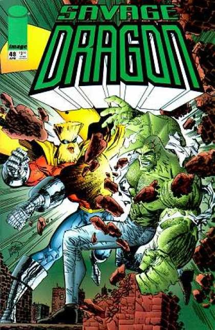 Savage Dragon 48 - Monsters - Rock - Green Monster - Buildings - Rooftop - Erik Larsen