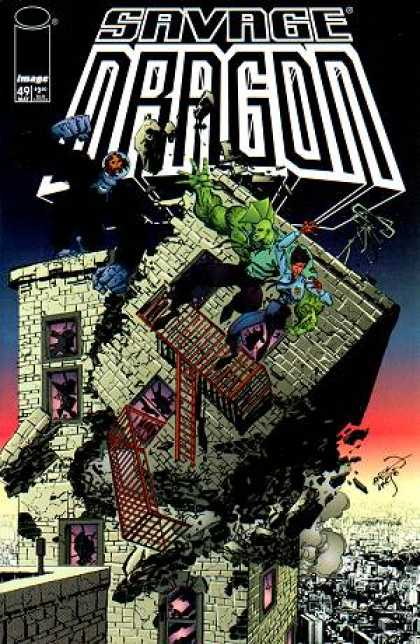 Savage Dragon 49 - Fighting - Tallest Building - Falling Down - City View - Window Mirrors - Erik Larsen