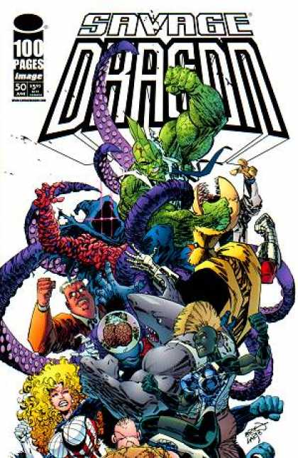 Savage Dragon 50 - Mohawk - Purple Octopus - Outstretched Hands - Bird Man - Big Blonde Girl - Erik Larsen
