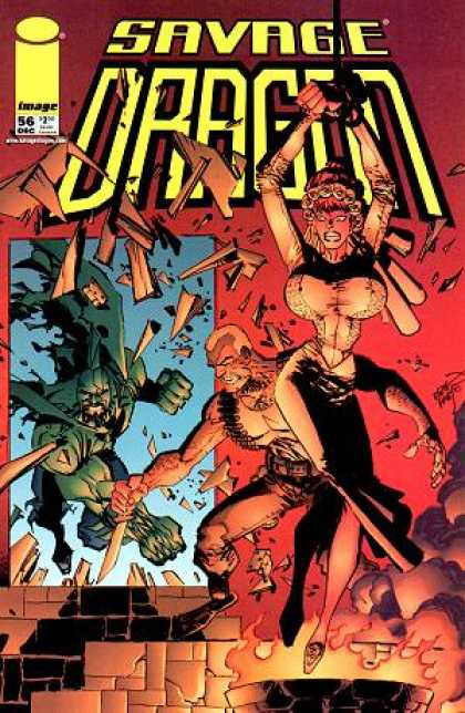 Savage Dragon 56 - Big Breasts - Break Stuff - Fire - Shards - Shattered Window - Erik Larsen