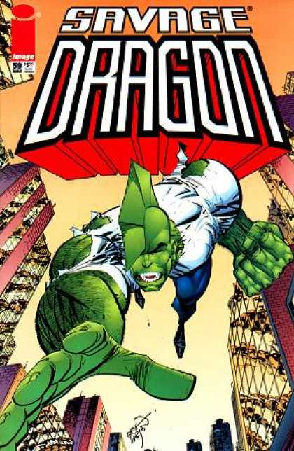Savage Dragon 59 - City - Green Hero - Torn Shirt - Fin Head - Image Comics - Erik Larsen
